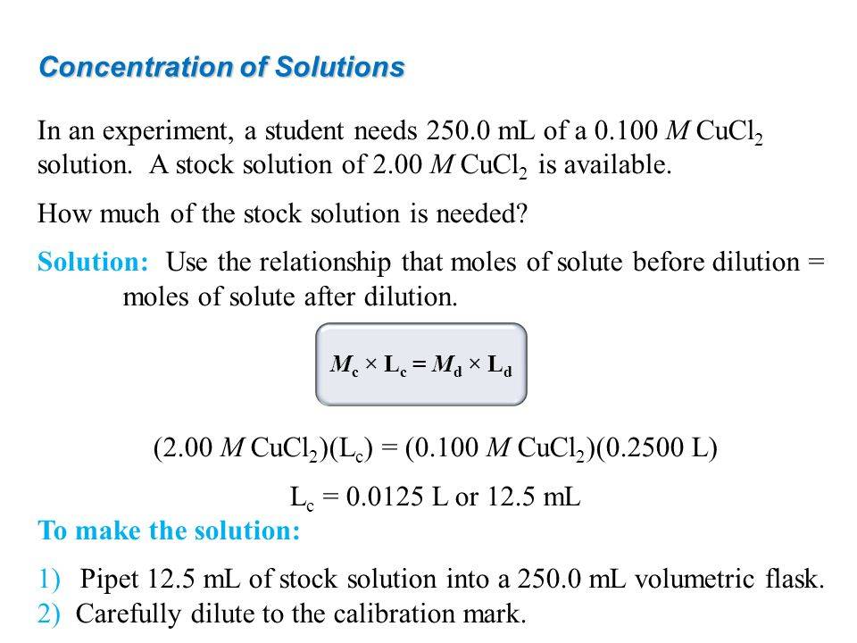 Concentration of Solutions In an experiment, a student needs 250.0 mL of a 0.100 M CuCl 2 solution. A stock solution of 2.00 M CuCl 2 is available. Ho