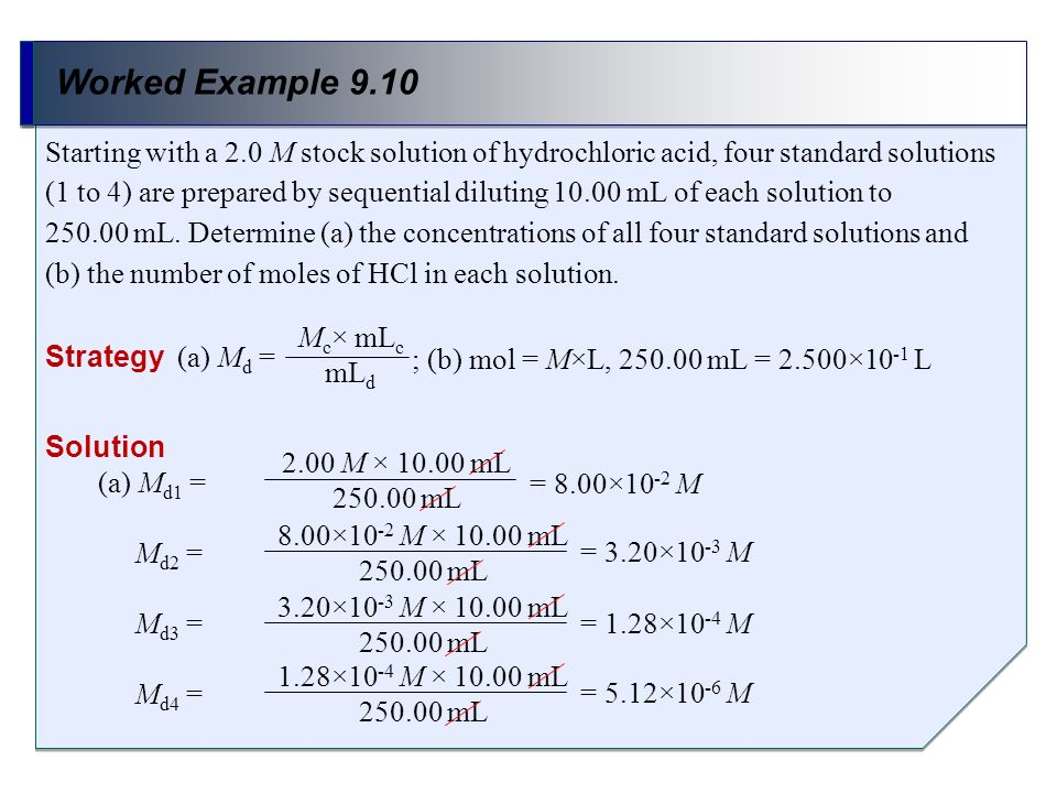 Worked Example 9.10 Strategy (a) M d = Starting with a 2.0 M stock solution of hydrochloric acid, four standard solutions (1 to 4) are prepared by seq