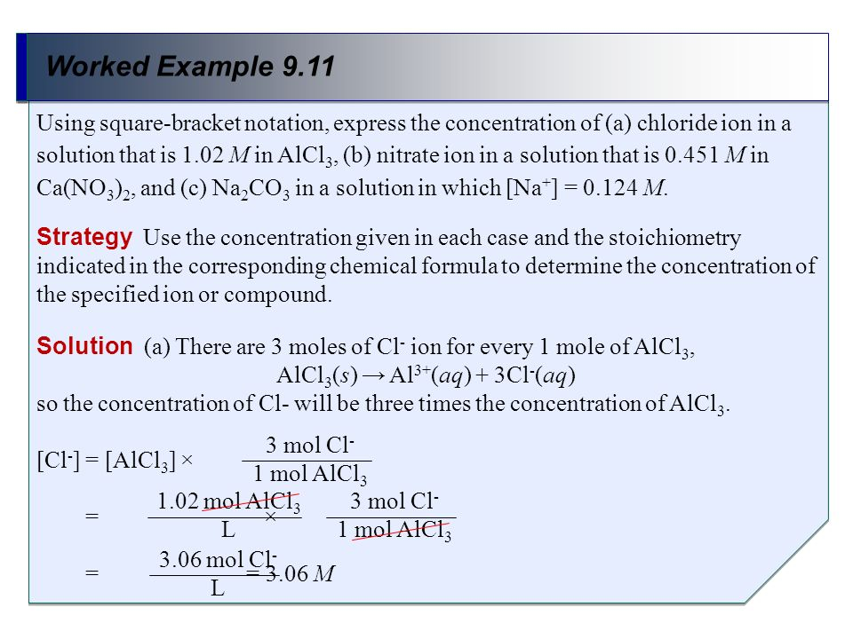 Worked Example 9.11 Strategy Use the concentration given in each case and the stoichiometry indicated in the corresponding chemical formula to determi