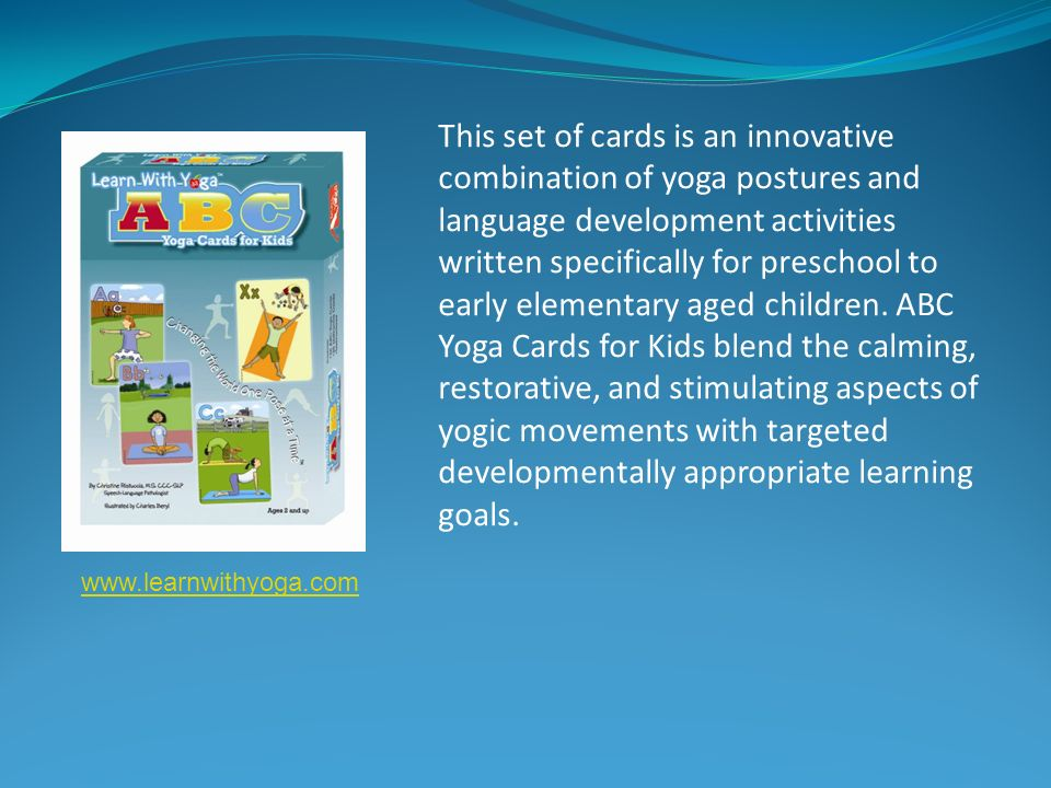 This set of cards is an innovative combination of yoga postures and language development activities written specifically for preschool to early elementary aged children.