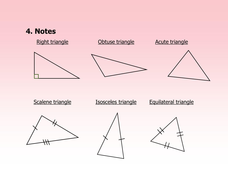 4.Notes Right triangleObtuse triangleAcute triangle Scalene triangleIsosceles triangleEquilateral triangle