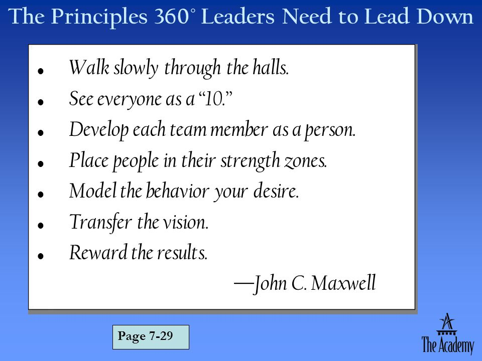 The Principles 360° Leaders Need to Lead Down Walk slowly through the halls. See everyone as a 10. Develop each team member as a person. Place people
