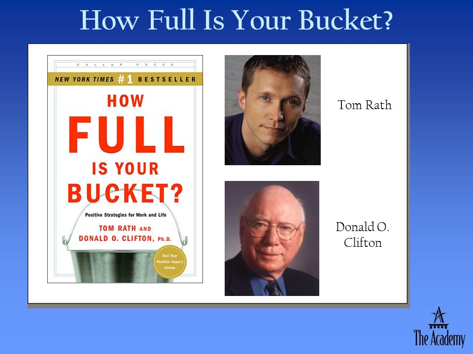 How Full Is Your Bucket? Donald O. Clifton Tom Rath