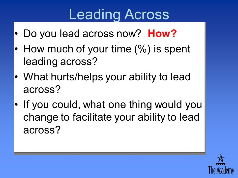 Leading Across Do you lead across now? How? How much of your time (%) is spent leading across? What hurts/helps your ability to lead across? If you co