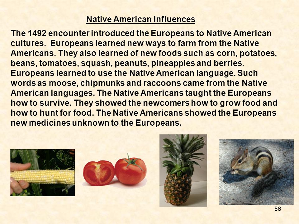 Native American Influences The 1492 encounter introduced the Europeans to Native American cultures. Europeans learned new ways to farm from the Native