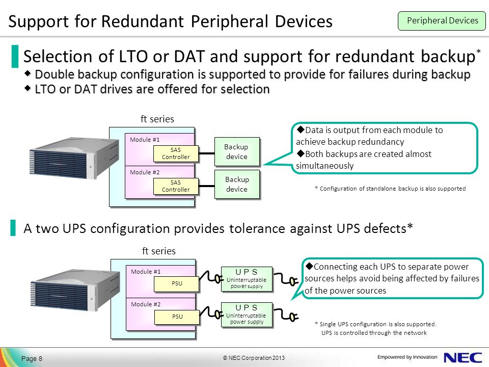 © NEC Corporation 2013 Page 8 Support for Redundant Peripheral Devices Double backup configuration is supported to provide for failures during backup LTO or DAT drives are offered for selection Selection of LTO or DAT and support for redundant backup * Double backup configuration is supported to provide for failures during backup LTO or DAT drives are offered for selection A two UPS configuration provides tolerance against UPS defects* Module #1 Module #2 SAS Controller SAS Controller SAS Controller SAS Controller Backup device Backup device Backup device Backup device ft series Data is output from each module to achieve backup redundancy Both backups are created almost simultaneously * Configuration of standalone backup is also supported Module #1 Module #2 PSU ft series Uninterruptable power supply Uninterruptable power supply Uninterruptable power supply Uninterruptable power supply * Single UPS configuration is also supported.