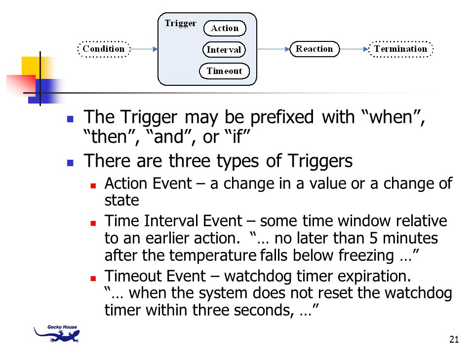 21 The Trigger may be prefixed with when, then, and, or if There are three types of Triggers Action Event – a change in a value or a change of state T