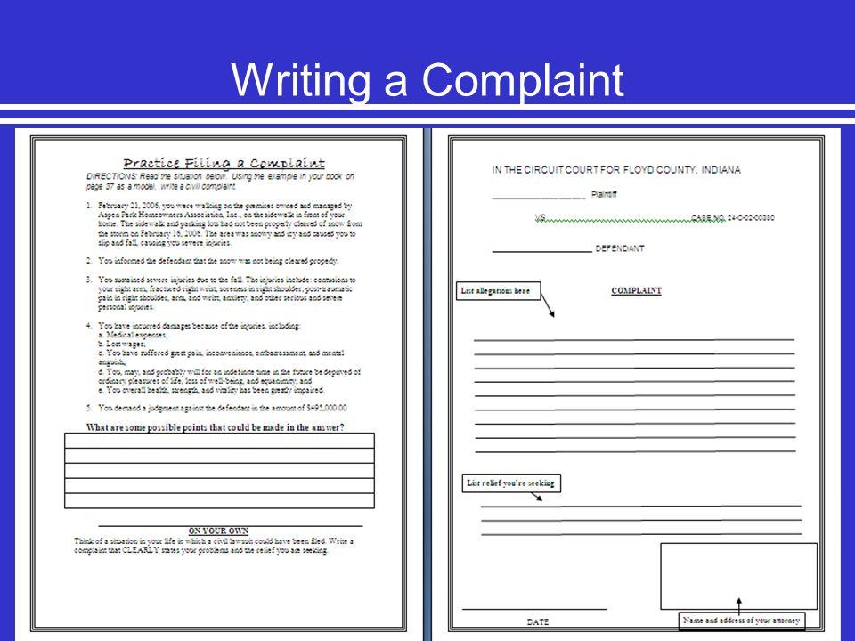 Writing a Complaint