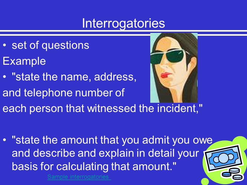 Interrogatories set of questions Example