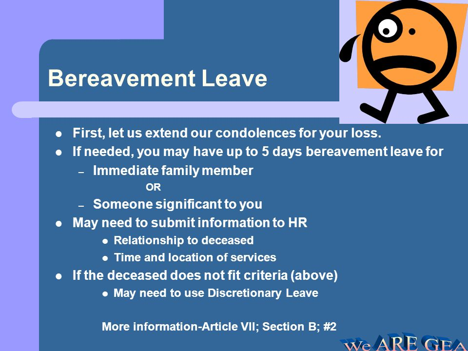 Discretionary Leave Full-time employees entitled to 3 each year –Accumulate up to 5 DL each year (40 hours) –Additional DL will revert to Sick Leave Part-time employees 50%-99% will have pro-rated leave Emergency Use (pipes break???) –Apply for DL within two days of returning to work Restrictions: –5 days prior written notice –Maximum of 10% of a building absent on one day –DL granted based on the order in which received in principals office –Employees working less than 50% have no leave More information- Article VIII; Section E