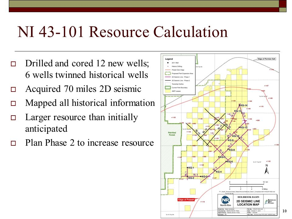 10 NI 43-101 Resource Calculation Drilled and cored 12 new wells; 6 wells twinned historical wells Acquired 70 miles 2D seismic Mapped all historical