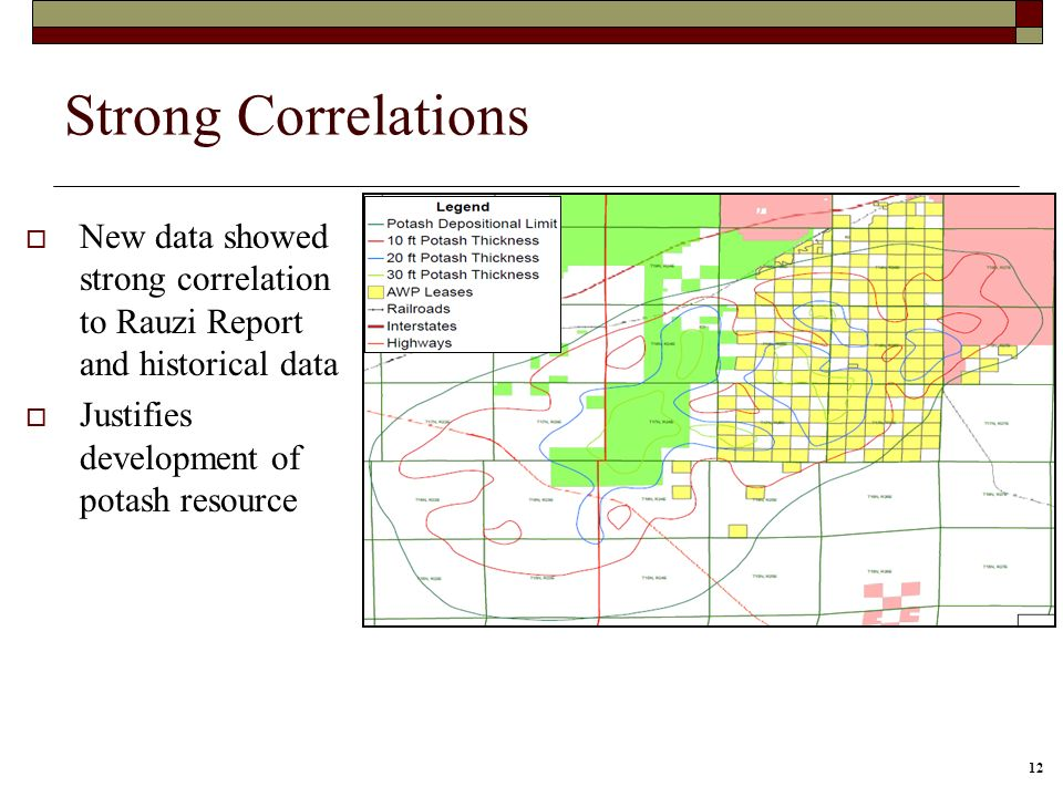 12 Strong Correlations New data showed strong correlation to Rauzi Report and historical data Justifies development of potash resource
