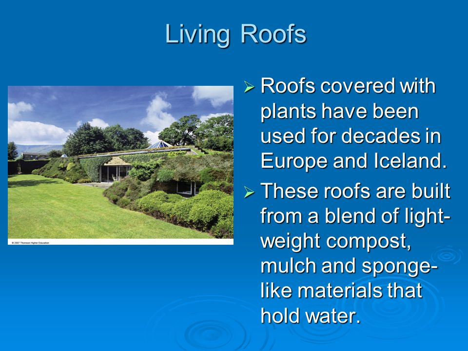 Living Roofs Roofs covered with plants have been used for decades in Europe and Iceland. Roofs covered with plants have been used for decades in Europ