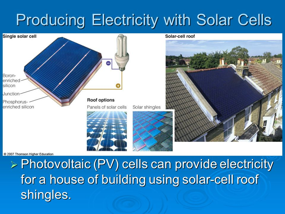 Producing Electricity with Solar Cells Photovoltaic (PV) cells can provide electricity for a house of building using solar-cell roof shingles. Photovo