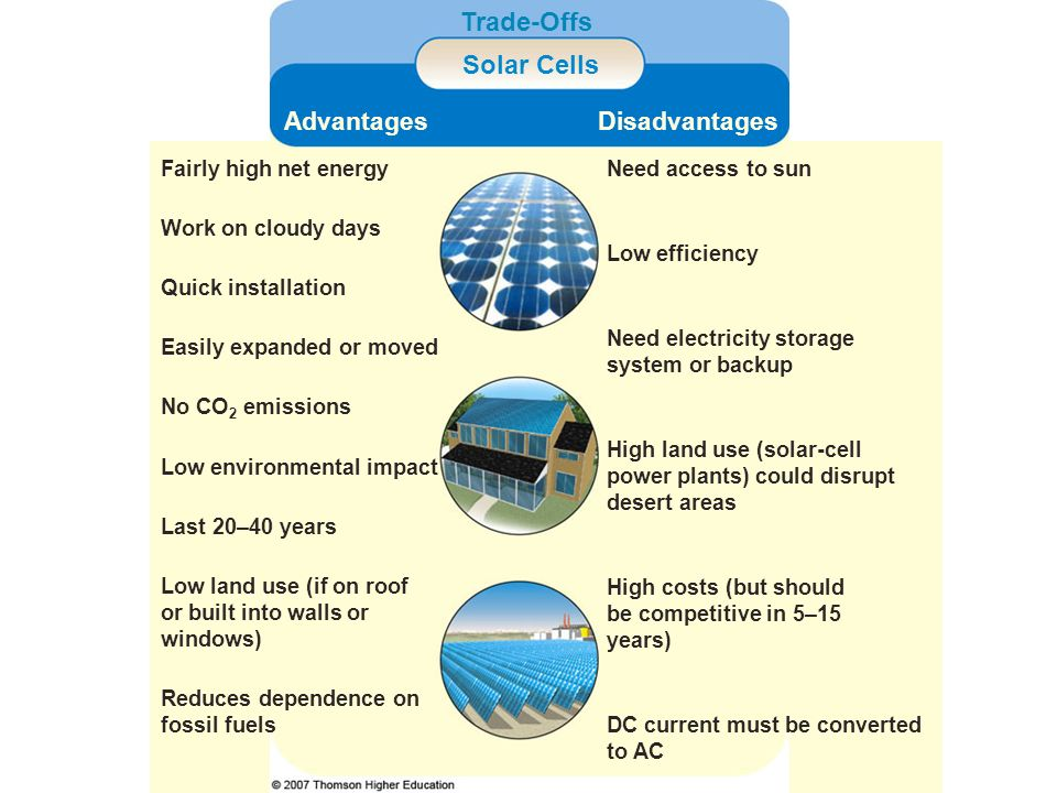 Trade-Offs Solar Cells AdvantagesDisadvantages Fairly high net energyNeed access to sun Work on cloudy days Low efficiency Quick installation Need ele