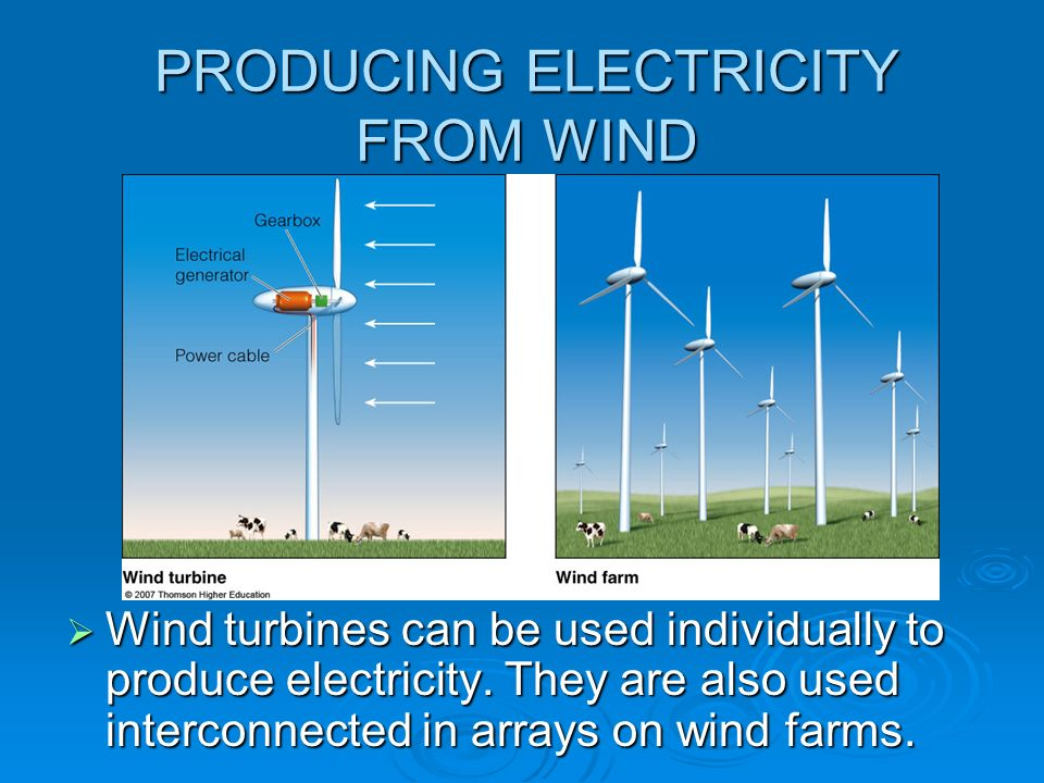 PRODUCING ELECTRICITY FROM WIND Wind turbines can be used individually to produce electricity. They are also used interconnected in arrays on wind far