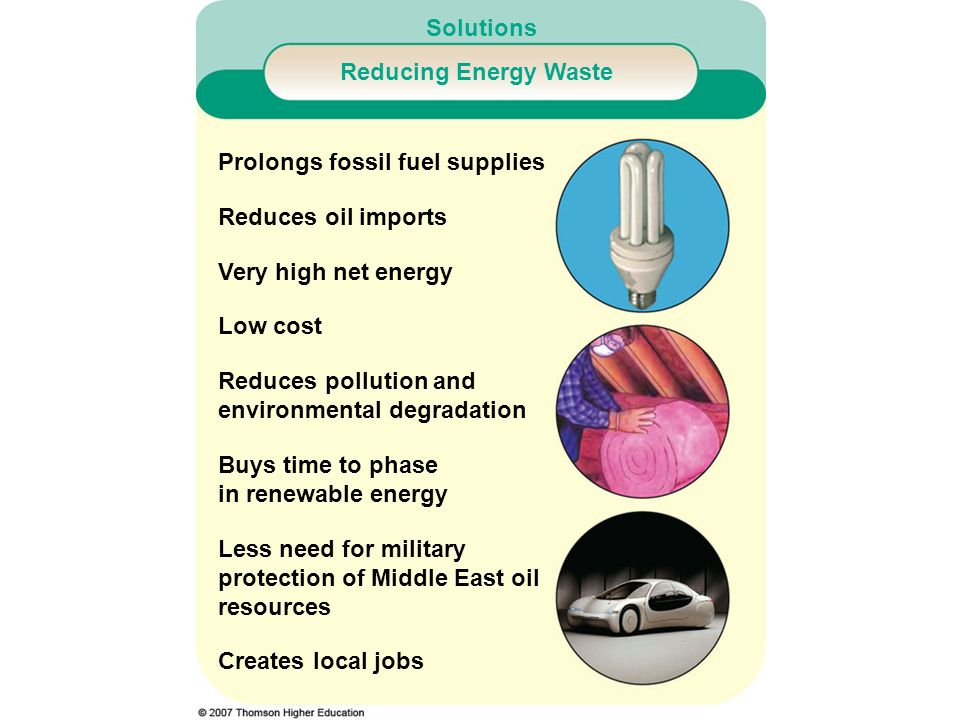 Solutions Reducing Energy Waste Prolongs fossil fuel supplies Reduces oil imports Very high net energy Low cost Reduces pollution and environmental de