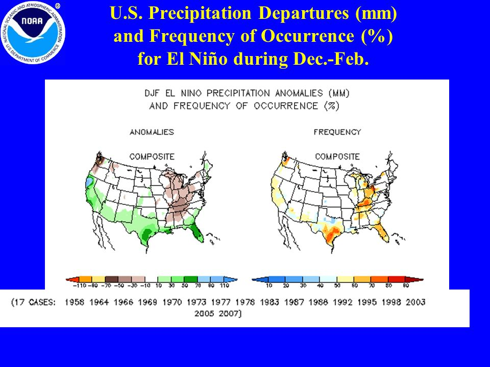 U.S. Precipitation Departures (mm) and Frequency of Occurrence (%) for El Niño during Dec.-Feb.