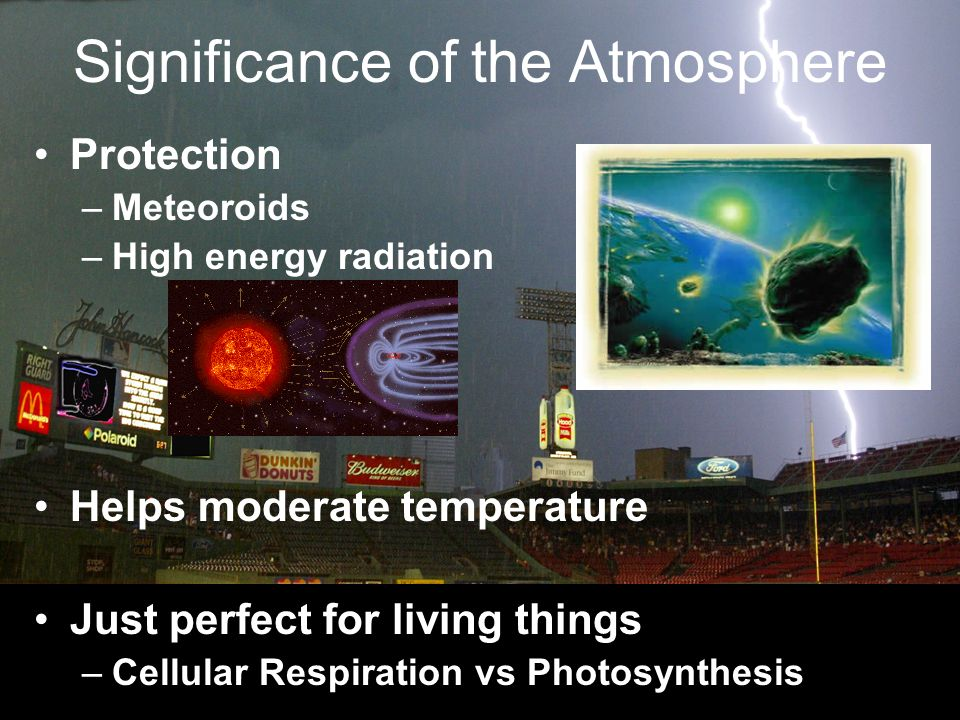 Significance of the Atmosphere Protection –Meteoroids –High energy radiation Helps moderate temperature Just perfect for living things –Cellular Respiration vs Photosynthesis