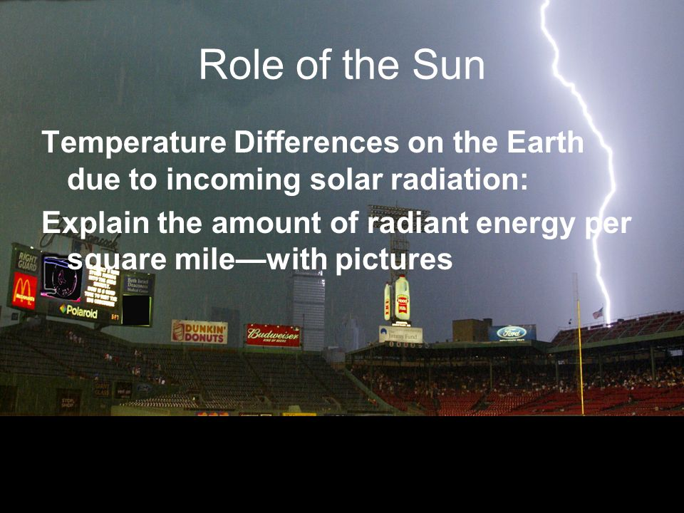 Role of the Sun Temperature Differences on the Earth due to incoming solar radiation: Explain the amount of radiant energy per square milewith pictures