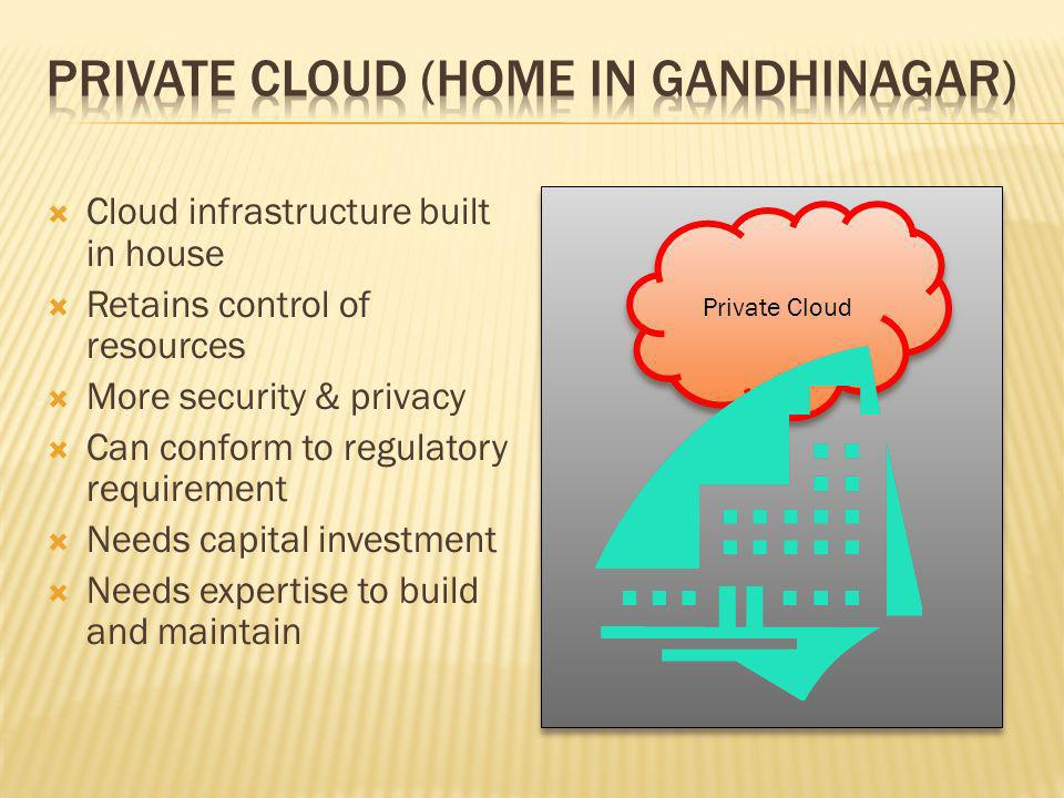 Cloud infrastructure built in house Retains control of resources More security & privacy Can conform to regulatory requirement Needs capital investment Needs expertise to build and maintain Private Cloud