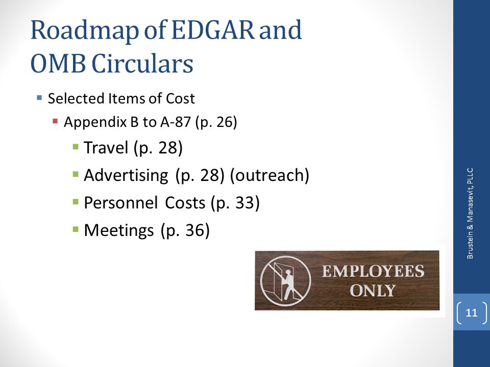 Roadmap of EDGAR and OMB Circulars Selected Items of Cost Appendix B to A-87 (p.