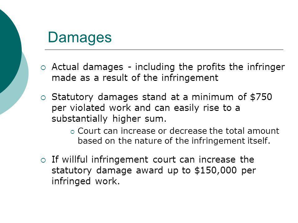Damages Actual damages - including the profits the infringer made as a result of the infringement Statutory damages stand at a minimum of $750 per vio