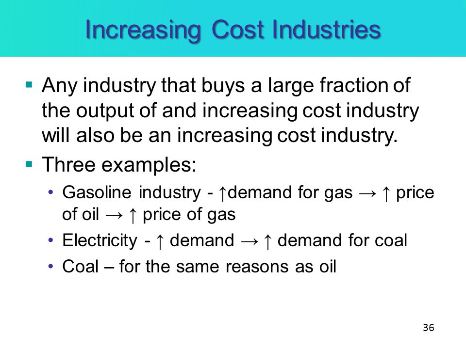 Increasing Cost Industries Any industry that buys a large fraction of the output of and increasing cost industry will also be an increasing cost indus