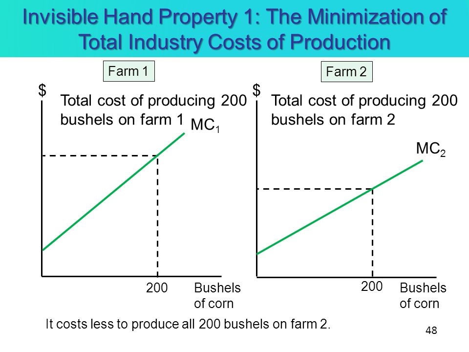 Invisible Hand Property 1: The Minimization of Total Industry Costs of Production 48 $$ Bushels of corn Bushels of corn Farm 2 Farm 1 200 MC 2 MC 1 To