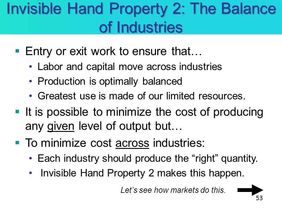 Invisible Hand Property 2: The Balance of Industries Entry or exit work to ensure that… Labor and capital move across industries Production is optimal