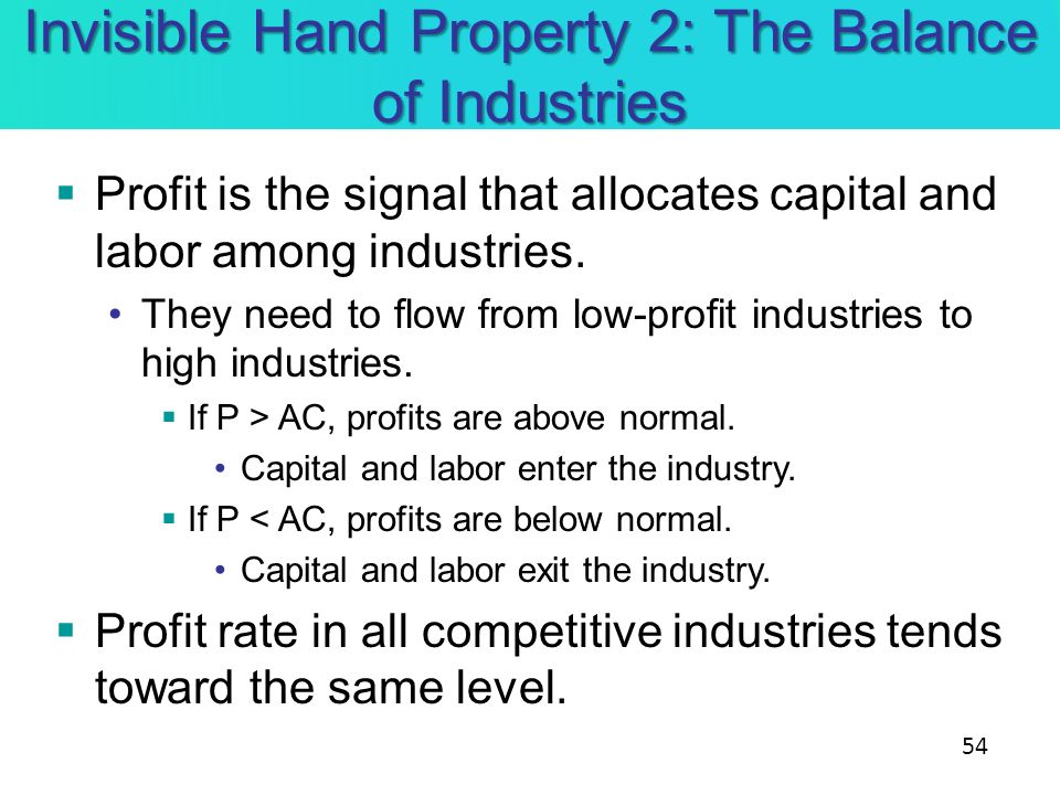 Invisible Hand Property 2: The Balance of Industries Profit is the signal that allocates capital and labor among industries. They need to flow from lo