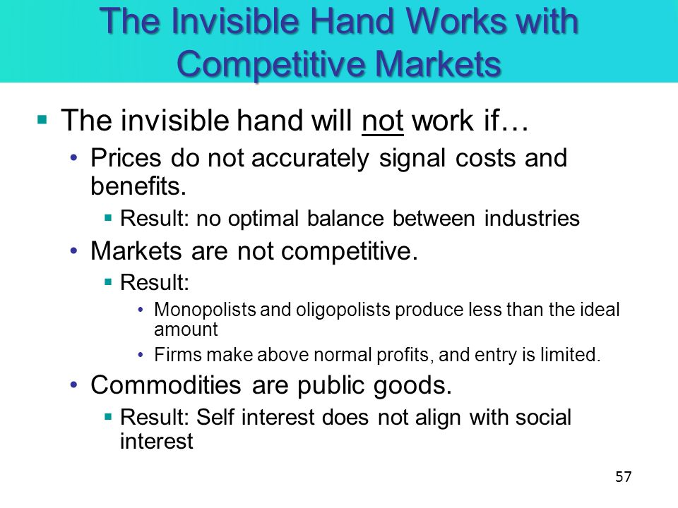 The Invisible Hand Works with Competitive Markets The invisible hand will not work if… Prices do not accurately signal costs and benefits. Result: no