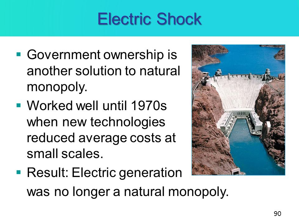 Electric Shock Government ownership is another solution to natural monopoly. Worked well until 1970s when new technologies reduced average costs at sm