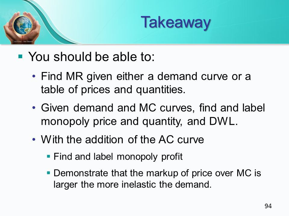Takeaway You should be able to: Find MR given either a demand curve or a table of prices and quantities. Given demand and MC curves, find and label mo