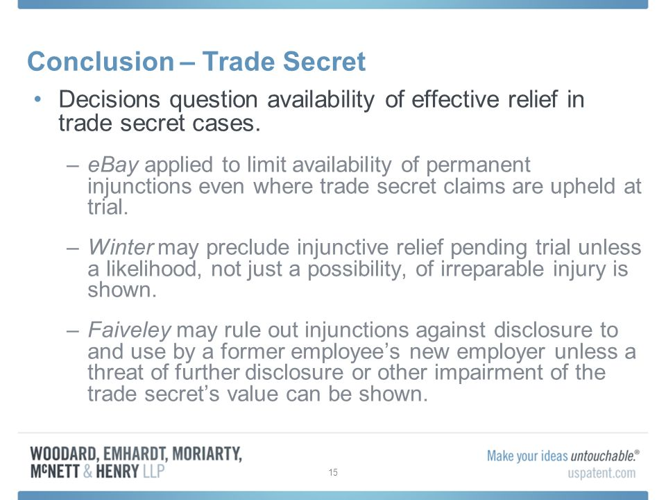 Conclusion – Trade Secret Decisions question availability of effective relief in trade secret cases.