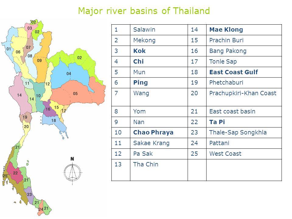 Major river basins of Thailand 1Salawin14Mae Klong 2Mekong15Prachin Buri 3Kok16Bang Pakong 4Chi17Tonle Sap 5Mun18East Coast Gulf 6Ping19Phetchaburi 7W