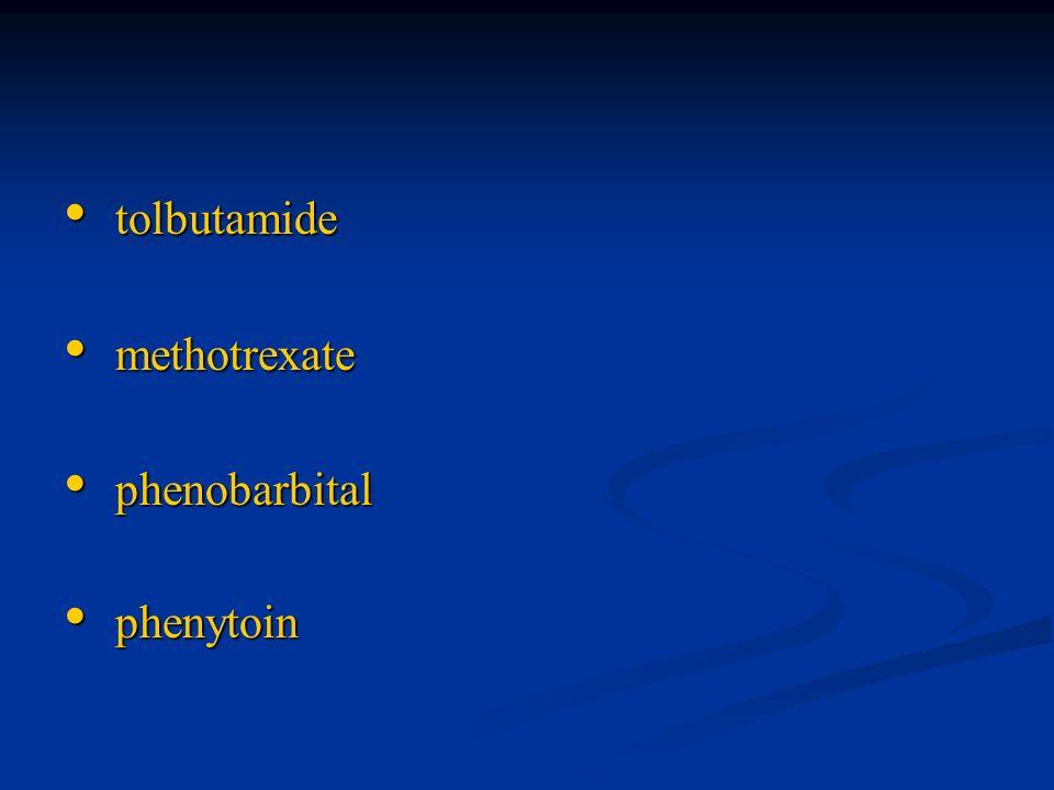 tolbutamide tolbutamide methotrexate methotrexate phenobarbital phenobarbital phenytoin phenytoin