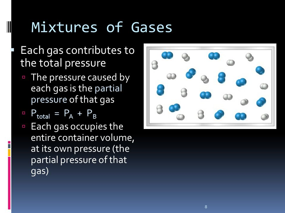 8 Mixtures of Gases Each gas contributes to the total pressure The pressure caused by each gas is the partial pressure of that gas P total = P A + P B