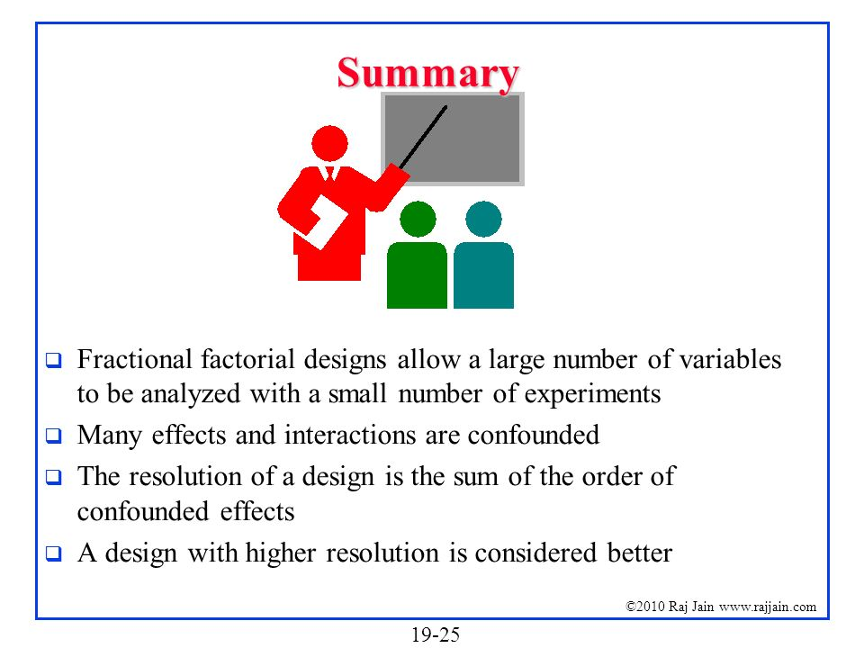 19-25 ©2010 Raj Jain www.rajjain.com Summary Fractional factorial designs allow a large number of variables to be analyzed with a small number of expe