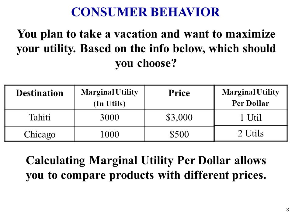 CONSUMER BEHAVIOR You plan to take a vacation and want to maximize your utility. Based on the info below, which should you choose? Destination Margina
