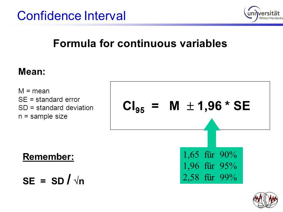 CI 95 = M 1,96 * SE Mean: M = mean SE = standard error SD = standard deviation n = sample size Remember: SE = SD / n 1,65 für 90% 1,96 für 95% 2,58 fü