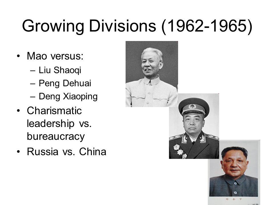Growing Divisions (1962-1965) Mao versus: –Liu Shaoqi –Peng Dehuai –Deng Xiaoping Charismatic leadership vs. bureaucracy Russia vs. China