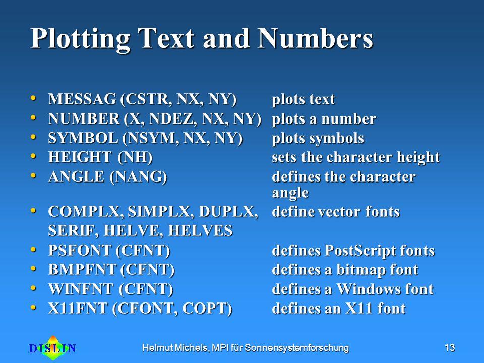 Helmut Michels, MPI für Sonnensystemforschung13 Plotting Text and Numbers MESSAG (CSTR, NX, NY) plots text MESSAG (CSTR, NX, NY) plots text NUMBER (X,