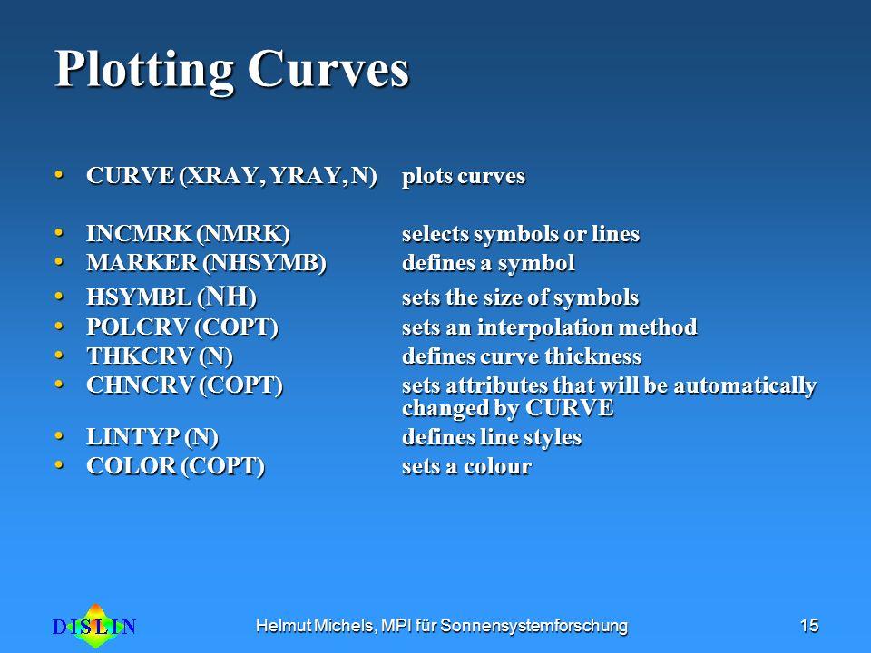 Helmut Michels, MPI für Sonnensystemforschung15 Plotting Curves CURVE (XRAY, YRAY, N) plots curves CURVE (XRAY, YRAY, N) plots curves INCMRK (NMRK) se