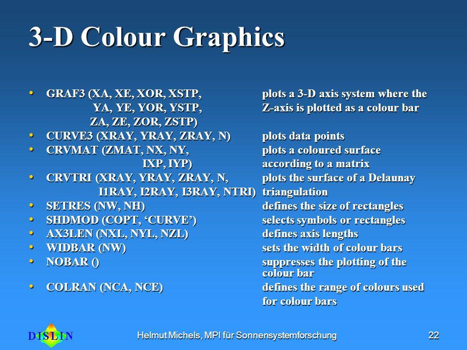 Helmut Michels, MPI für Sonnensystemforschung22 3-D Colour Graphics GRAF3 (XA, XE, XOR, XSTP, plots a 3-D axis system where the GRAF3 (XA, XE, XOR, XS