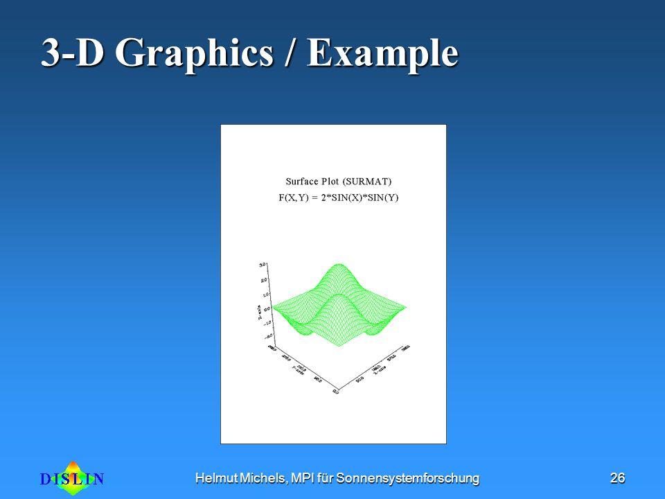 Helmut Michels, MPI für Sonnensystemforschung26 3-D Graphics / Example