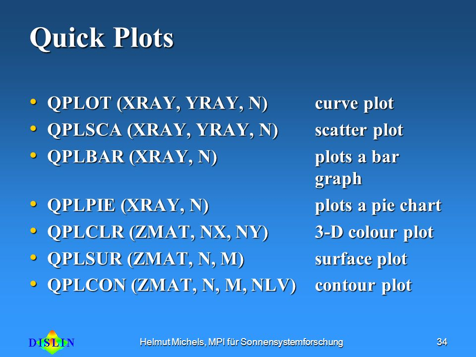 Helmut Michels, MPI für Sonnensystemforschung34 Quick Plots QPLOT (XRAY, YRAY, N) curve plot QPLOT (XRAY, YRAY, N) curve plot QPLSCA (XRAY, YRAY, N) s