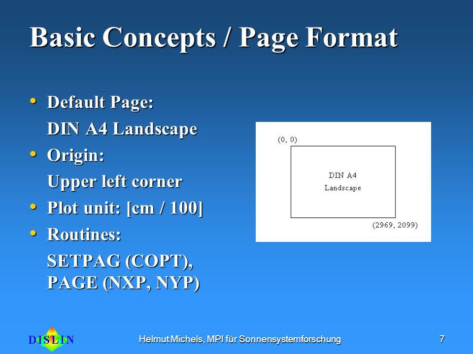Helmut Michels, MPI für Sonnensystemforschung7 Basic Concepts / Page Format Default Page: Default Page: DIN A4 Landscape Origin: Origin: Upper left co