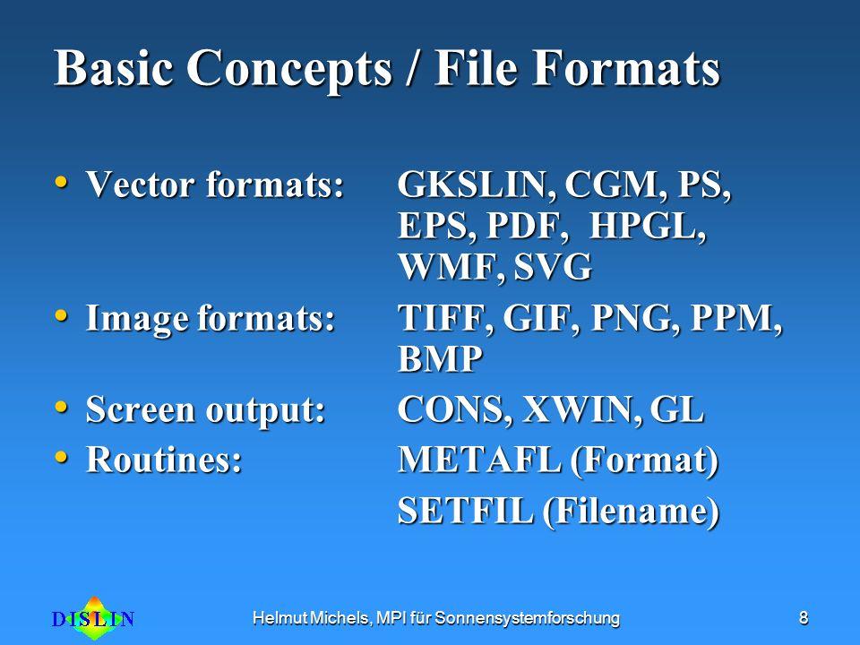 Helmut Michels, MPI für Sonnensystemforschung8 Basic Concepts / File Formats Vector formats:GKSLIN, CGM, PS, EPS, PDF, HPGL, WMF, SVG Vector formats:G