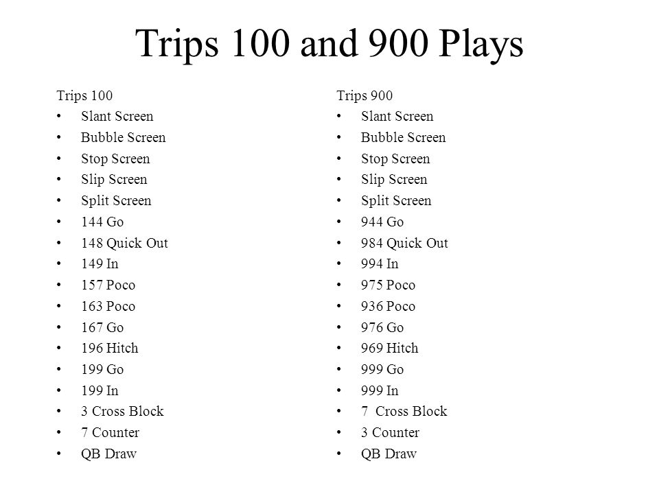 Trips 100 and 900 Plays Trips 100 Slant Screen Bubble Screen Stop Screen Slip Screen Split Screen 144 Go 148 Quick Out 149 In 157 Poco 163 Poco 167 Go